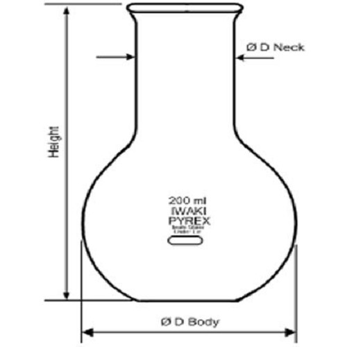 IWAKI Boiling Flask Flat Bottom Wide Neck 300 ml [4062FK300] - Labu Didih Single Wide Neck